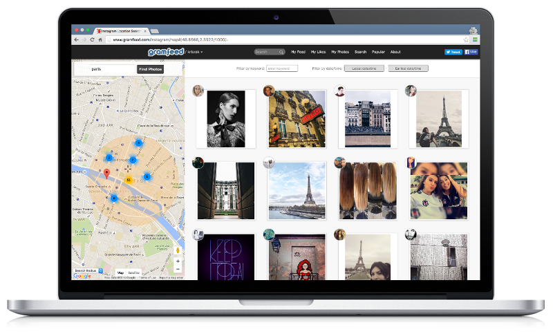 A screenshot of the Gramfeed UI